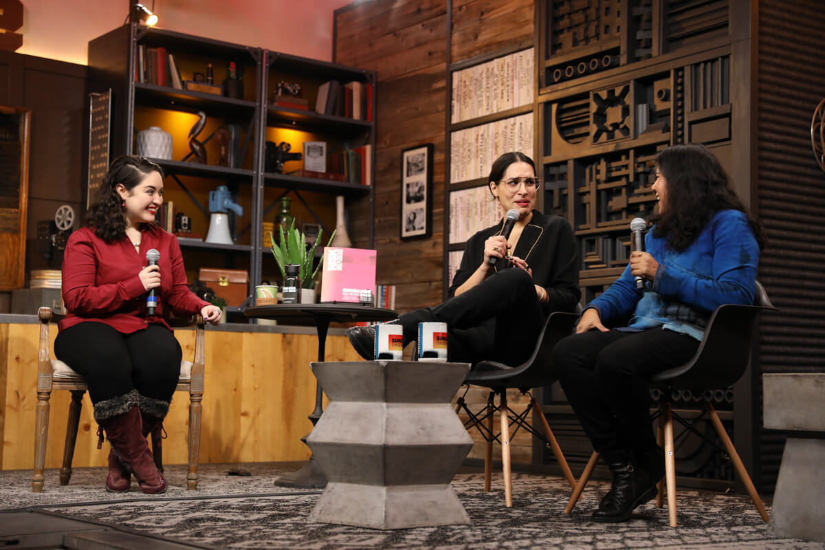 Moderator Monica Castillo, director Desiree Akhavan and director Nisha Ganatra at the Cinema Café with Desiree Akhavan and Nisha Ganatra at the 2019 Sundance Film Festival. © 2019 Sundance Institute   photo by Kelly Mason.   All photos are copyrighted and may be used by press only for the purpose of news or editorial coverage of Sundance Institute programs. Photos must be accompanied by a credit to the photographer and/or 'Courtesy of Sundance Institute.' Unauthorized use, alteration, reproduction or sale of logos and/or photos is strictly prohibited.